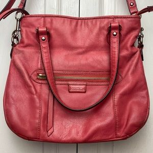 Pink leather Coach purse hobo bag